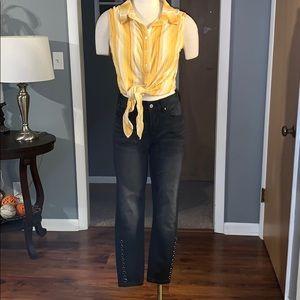 G by Giuliana black jeans studded at bottom size 6